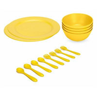 Green Eats Large Plates with Snack Bowls & Feeding Spoons & Forks, Yellow