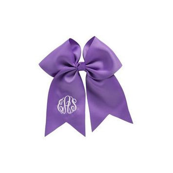 Personalized Hair Bow, Purple, font:master circle initials, color:white