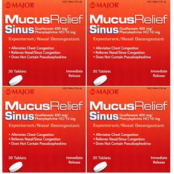Mucus Relief PE Guaifenesin 400 mg Expectorant and Phenylephrine 10 mg Nasal Decongestant Generic for Mucinex Sinus Tablets 30 ea. Per Bottle Pack of 4 Total 120 Tablets