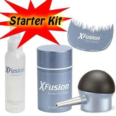 XFusion Tool Kit for thinning hair with applicator bottle, Hairline Optimizer, Fiberhold Spray and XFusion Hair Fiber-AUBURN