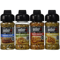 Weber Seasoning Variety 4 Flavor Pack 2.5 Oz - Kick'n Chicken - Roasted Garlic & Herbs - Chicago Steak - Gourmet Burger - All Natural Shake-on Bundle