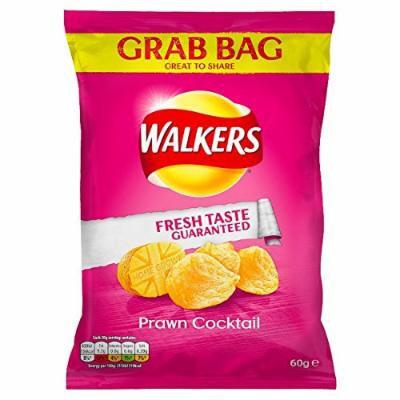 Walkers Prawn Cocktail Flavour Crisps 60g (Pack of 6)