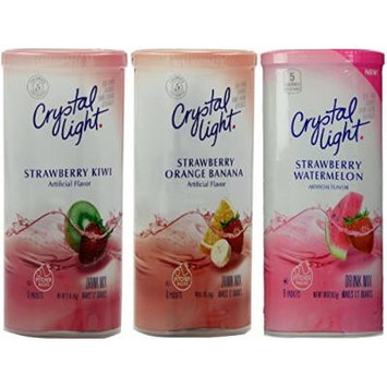 Crystal Light Strawberry Drink Mix Variety Pack, 3 Flavors, 8 Canisters of Each Flavor, 24 Canisters Total