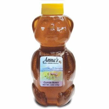 Clover Honey Bear Bottle, 12 oz - Grade A, Natural, Raw Honey - by Anna's Honey (Pack of 4)