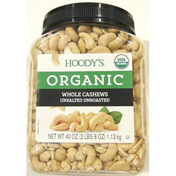 Hoody's Organic Raw Unsalted Unroasted Whole Cashews (2.5 lbs)
