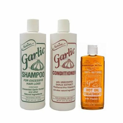 Nutrine Unscented Garlic Shampoo 16oz + Conditioner 16oz + Hot Oil Treatment 8 oz