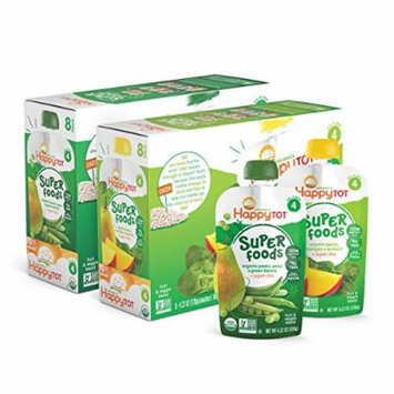 Happy Tot Organic Toddler Food Variety Pack, Spinach Mango Pear & Green Bean Pear Pea, 4.22 Ounce Pouch (Pack of 16)