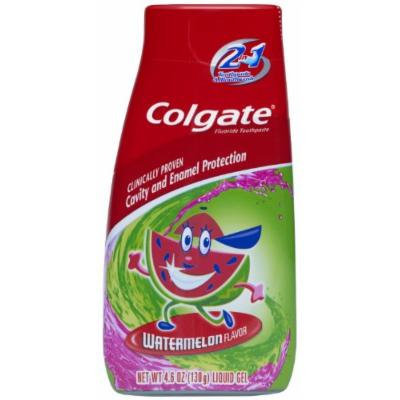 Colgate Kids 2 In 1 Toothpaste & Mouthwash, Watermelon Flavor, 4.6 oz (130 g) (Pack of 4)