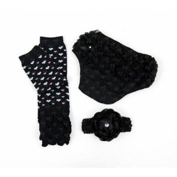 Ema Jane - Ruffled Woven Baby Diaper Bloomer Covers (1 to 18 Months) (3 Months to 18 Months, Black with Hearts Set)