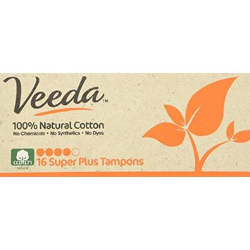Veeda - Applicator Free Super Plus Tampons - 100% Natural Cotton - 16 Count Boxes (Pack of 3)