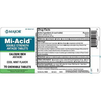 (3 Pack) Mi-acid Double Strength Antacid Chewable Tablets Cool Mint Flavor 70 Ct. (Pack of 3) *Compare to the Active Ingredients in Mylanta Double Strength and Save*