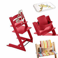 Stokke - Tripp Trapp - Red High Chair, Red Baby Set, Art Stripe Cushion & Table Top