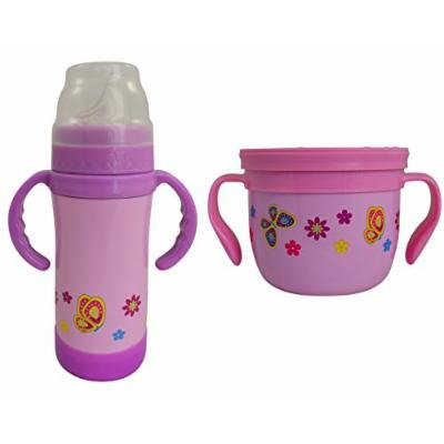 Insulated Stainless Steel Sippy Cup and Gobble n Go Snack Cup Set (Pink Butterflies)