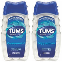 Tums Antacid, Regular Strength, Chewable Tablets, Peppermint, 150-Count Bottles (Pack of 2)
