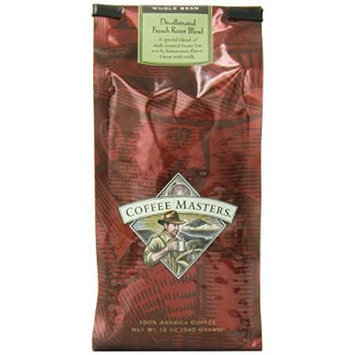 Coffee Masters Gourmet Coffee, French Roast Blend Decaffeinated, Whole Bean, 12-Ounce Bags (Pack of 4)