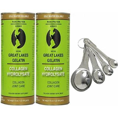 Great Lakes Gelatin, 2 Collagen Hydrolysate 16-Ounce Cans and Measuring Spoons Combo Pack
