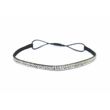 Two Row Bling Rhinestone Headband/ Elastic Stretch/ Rhinestone Hair Band Hair Accessory (Hematite Thin headband)