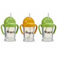 Zoli Baby BOT Straw Sippy Cup 6 oz - 3 Pack, Green/Orange/Green