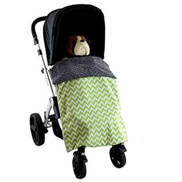 Stroller Blanket Zig Zag Green - No-Fall Universal Stroller Blanket, Sac-like Design Keeps Warm Air In, Handmade in USA.