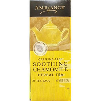 1.37oz Ambiance Soothing Chamomile Herbal Tea, Caffeine Free, 25 Tea Bags (One Box)