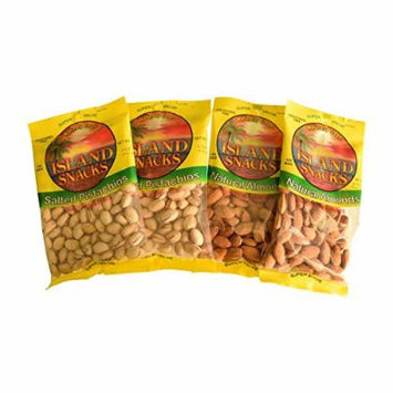 Island Snacks Bundle of 2 Packs of Pistachios and 2 Pack of Almonds