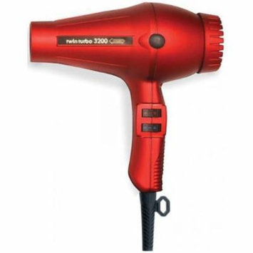 Twin Turbo 3200 Professional Italian Hair Dryer, with 1900 Watt High Performance AC Motor, Extremely Lightweight, with 4 Temperature/2 Speeds Control, Features Built-In Anti Overheating Device, with Reinforced Heating Element and Extra Long Power Cord,...