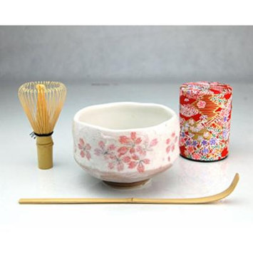 Ryu Mei Beginner Kyoto Ceremony Green Tea Set with Organic Matcha Green Tea Powder, Chawan Tea Set Bowl Bamboo Spoon Bamboo Whisk and a Washi Caddy Tin 527-24 Japan Red Sakura