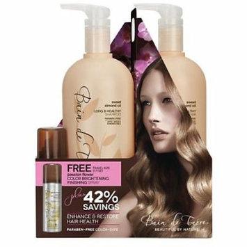 Bain De Terre Passion Flower Shampoo 33.8 Oz and Conditioner 33.8 Oz with Finishing Spray 1.7 Oz