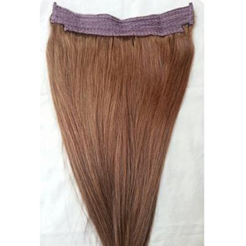 18inches 100% Human Hair Extensions, Halo Style (ONE PIECE NO CLIP) with an adjustable invisible wire (Fishing String) #6 Medium Chestnut Brown