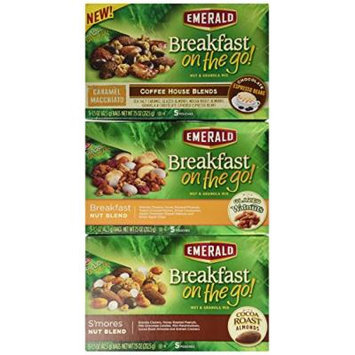Emerald Breakfast On The Go! Nut And Grain Blends 3 Flavor Variety Bundle: (1) Emerald S'mores Nut Blend, (1) Emerald Breakfast Nut Blend, and (1) Emerald Caramel Macchiato Coffee House Blend, 7.5 Oz. Ea. (3 Boxes Total)