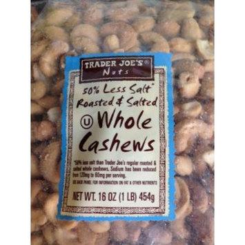 Trader Joe's 50% Less Salt - Roasted & Salted - Whole CASHEWS