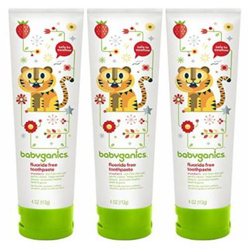 BabyGanics Fluoride Free Toothpaste 4 oz, 3 Pack - Strawberry