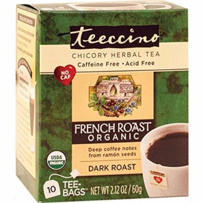 Teeccino French Roast Organic Chicory Herbal Tea Bags, Caffeine Free, Acid Free, 10 Count (Pack of 4)
