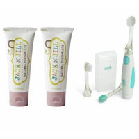 Jack N' Jill Natural Toothpaste 1.76oz 2-Pack with Vibrating Toothbrush (Raspberry)