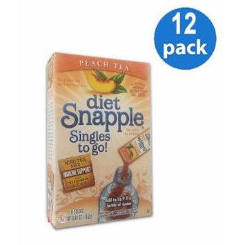 Diet SNAPPLE PEACH TEA Soft Drink Mix 6 Sticks In Each Box (12 Pack) GL