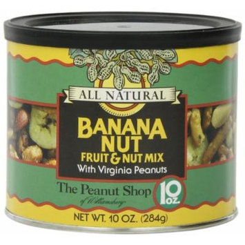 The Peanut Shop of Williamsburg All Natural Banana Nut Fruit & Nut Mix with Virginia Peanuts, 10-Ounce Tin