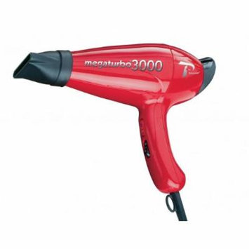 Mega 3000 Turbo Power Italian Professional Hair Blow Dryer, with Extra Quiet Operation, 5 Temperature Settings with 2 Speeds and True Cold Shot Button, Features a Anti Overheating Device, Wide Concentrator Nozzle and Comb Pick, with Extra Long Power...