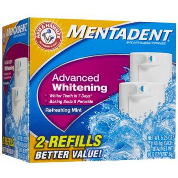 Mentadent Refreshing MintToothpaste, Advanced Whitening, Twin Refills 10.5 oz.