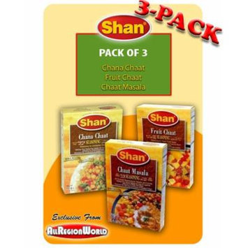 Shan Chaat Special Pack Masala Seasoning 1.75oz., 50g (3-Pack) Fruit Chaat, Chaat Masala, & Chana Chaat Free Recipe Included Exclusive From AllRegionWorld