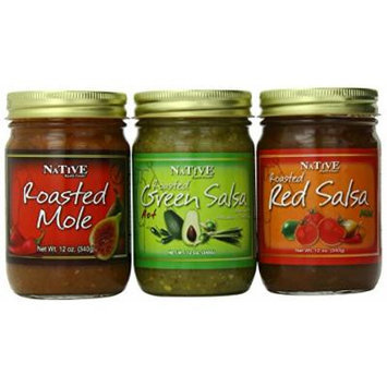Native Kjalii Foods Fiesta Box-Roasted Red Salsa, Roasted Green Salsa, Roasted Mole, 12 Ounce (Pack of 3)