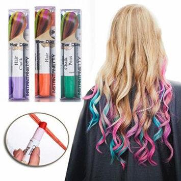 Professional Waxy Hair Chalk Pens Hair Chalk Salon Temporary Hair Color Dye Touch-up (3 Packs-Light Purple+Green+Orange#32)