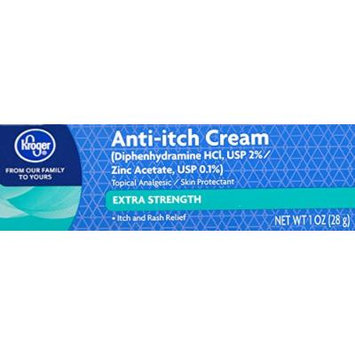 Kroger Extra Strength Anti-Itch Cream 1 oz, Diphenhydramine & Zinc Acetate, Compare to active ingredient of Benadryl Itch Stopping Cream Extra Strength