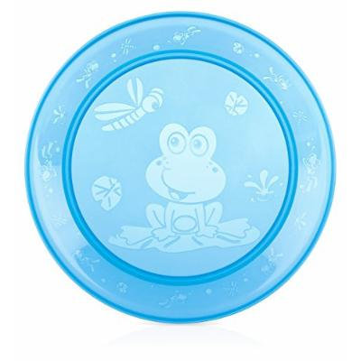 Nuby 4 Pack Embossed Round Flat Plate, Blue
