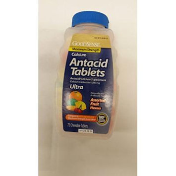 Goodsense Maximum Strength Calcium Antacid Tablets, Assorted Fruit Flavors, 72 Count