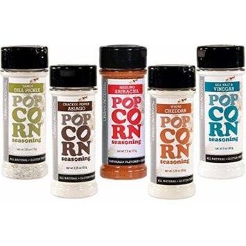 Urban Accents All Natural Gluten Free Premium Popcorn Seasoning Variety Pack - Cracked Pepper Asiago, Sizzling Sriracha, White Cheddar, Sea Salt & Vinegar, Dill Pickle