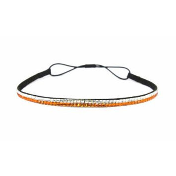 Two Row Bling Rhinestone Headband/ Elastic Stretch/ Rhinestone Hair Band Hair Accessory (Clear Orange)