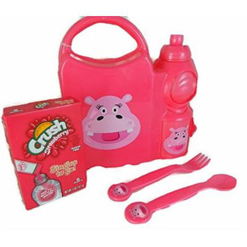 Hippo Lunch Box Bundle One Water Bottle, One Spoon, One Fork, One Sugar Free, Caffeine Free Crush Strawberry Drink Mix
