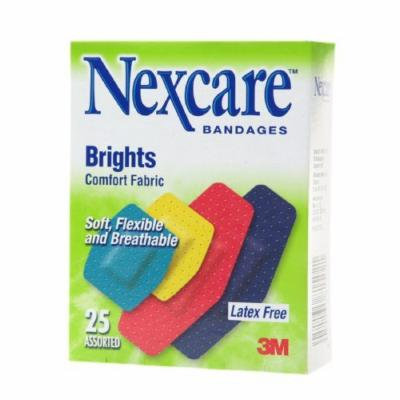 Nexcare Brights Comfort Fabric Bandages, Assorted Sizes 25 ea Pack of 12