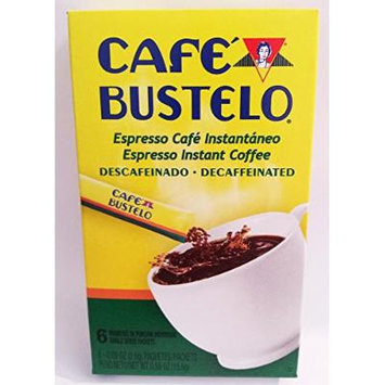 BUSTELO DECAFFEINATED INSTANT ESPRESSO COFFEE 6 - 0.09 oz INDIVIDUAL PACKETS DECAF