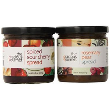 The Gracious Gourmet Spread Duo, Rosemary Pear and Spiced Sour Cherry , 16-Ounce